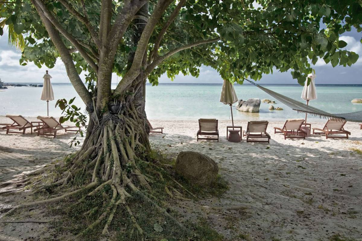 View on the beach loungers of Kamalaya hotel directly at the beach of Koh Samui