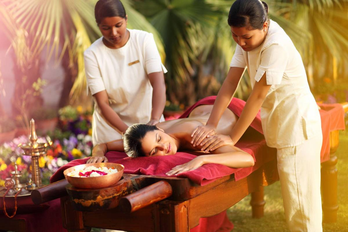 A  guest of Ananda in the Himalayas enjoying a massage