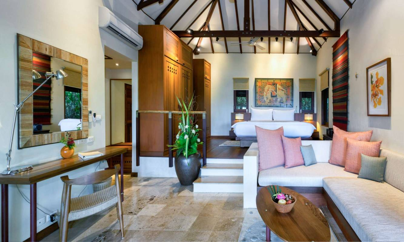 The interior of the living space in one of the sea view villas at Kamalaya Koh Samui