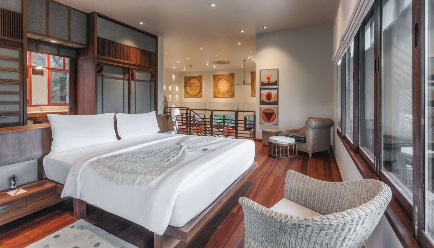 The bedroom in one of the garden view villas at Kamalaya